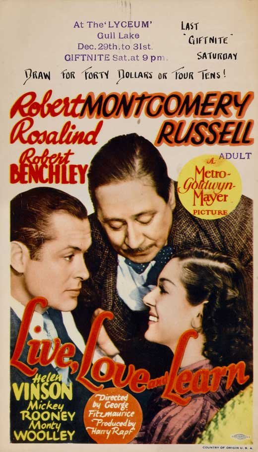 Robert Benchley, Robert Montgomery, and Rosalind Russell in Live, Love and Learn (1937)