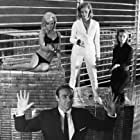 Sean Connery, Honor Blackman, Shirley Eaton, and Tania Mallet in Goldfinger (1964)