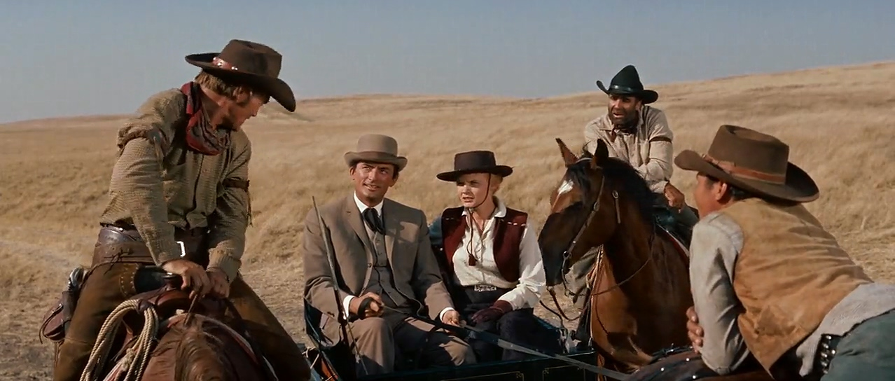 Gregory Peck, Carroll Baker, Buff Brady, Chuck Connors, and Chuck Hayward in The Big Country (1958)