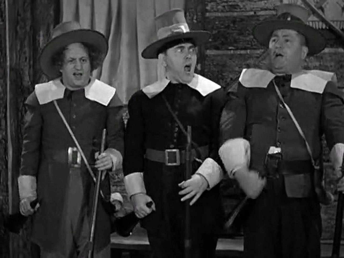 Moe Howard, Larry Fine, and Curly Howard in Back to the Woods (1937)