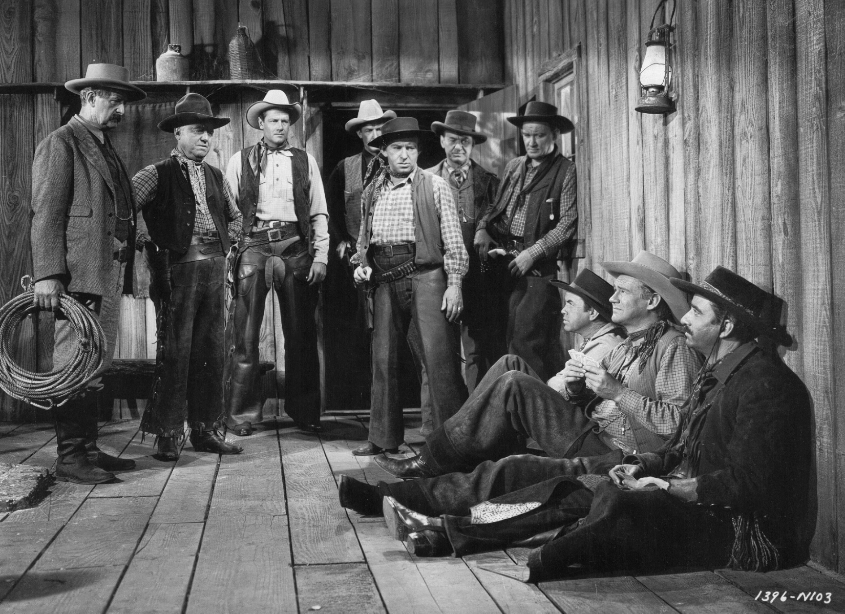 Paul Guilfoyle, Stanley Andrews, William Frawley, Larry Lawson, Joel McCrea, Sonny Tufts, and Tom Tully in The Virginian (1946)