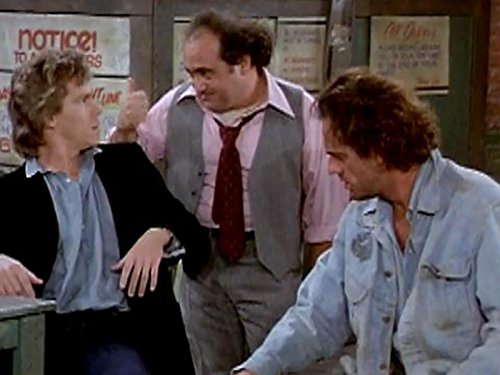 Danny DeVito, Christopher Lloyd, and Jeff Conaway in Taxi (1978)