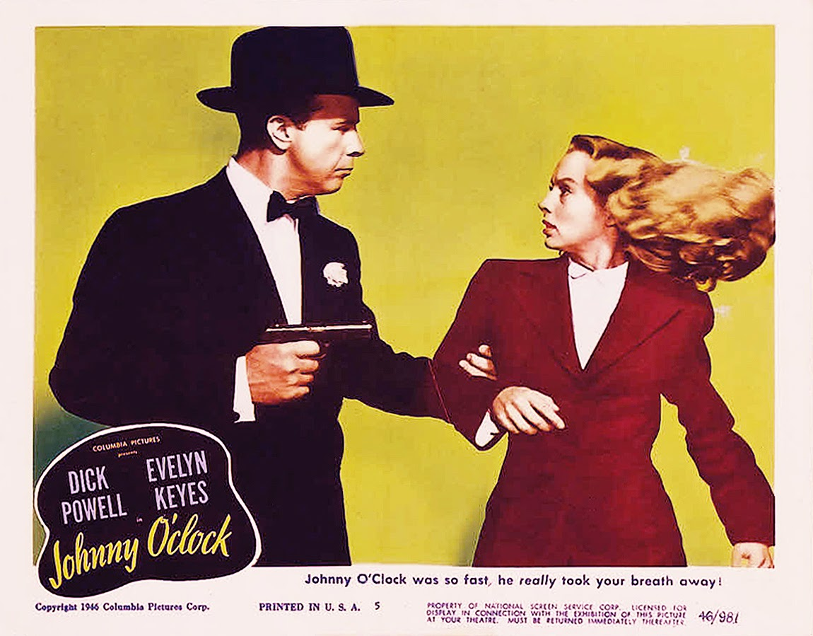 Evelyn Keyes and Dick Powell in Johnny O'Clock (1947)