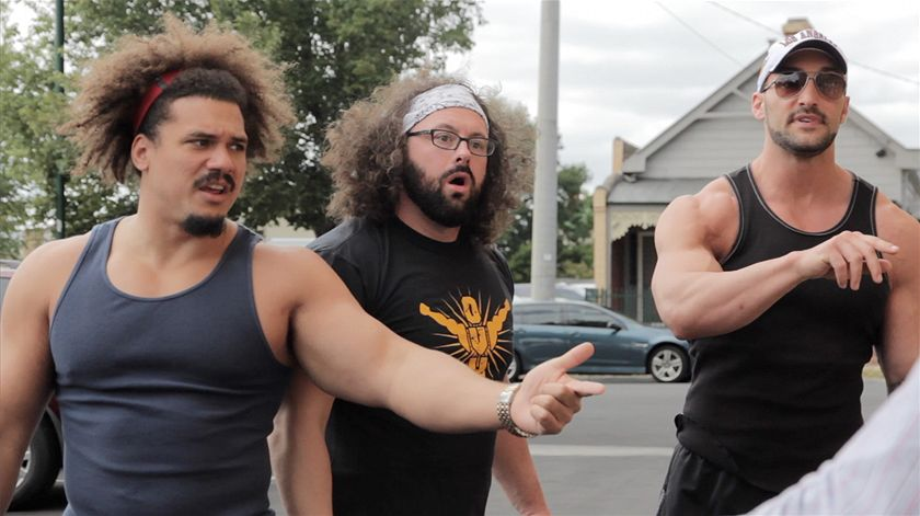 Nick Dinsmore, Carlos Colón Jr., and Chris Mordetzky in The Tour: Blunder Down Under (2015)
