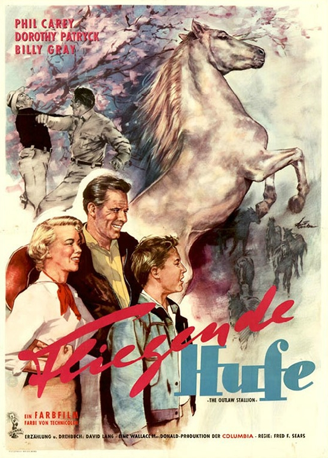 Philip Carey, Billy Gray, Dorothy Patrick, and Highland Dale in The Outlaw Stallion (1954)
