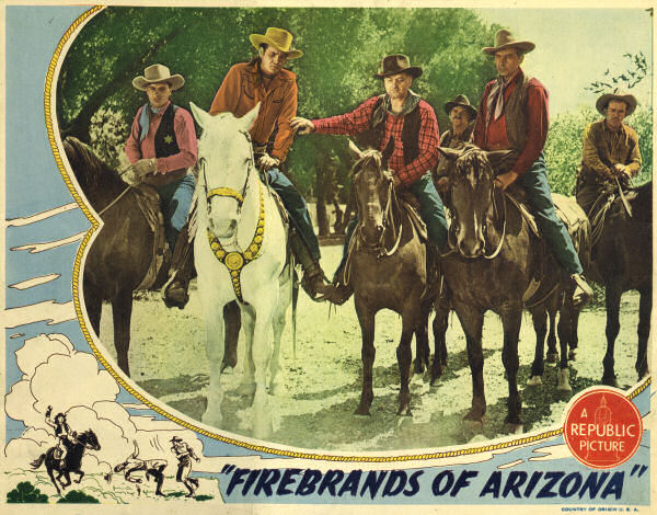 Sunset Carson, Jess Cavin, Earle Hodgins, Rex Lease, Pascale Perry, and Robert J. Wilke in Firebrands of Arizona (1944)