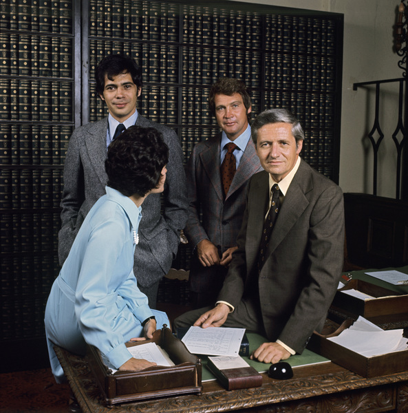 Lee Majors, Arthur Hill, and Reni Santoni in Owen Marshall, Counselor at Law (1971)