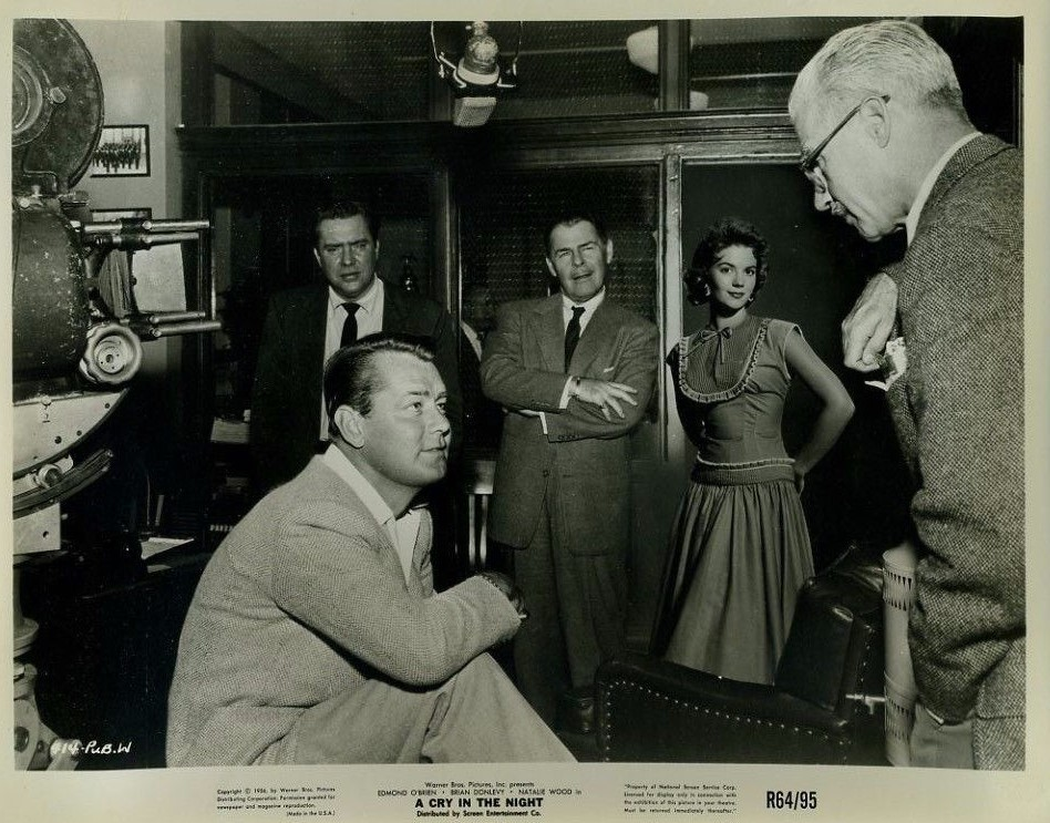 Alan Ladd, Natalie Wood, Brian Donlevy, Edmond O'Brien, and Frank Tuttle in A Cry in the Night (1956)