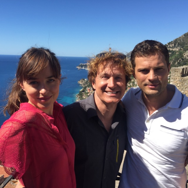 Dakota Johnson, Nelson Coates, Jamie Dornan during the filming of Fifty Shades Freed in Rocquebrune-Cap- Martin, France