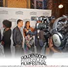 """Neil Holland and Noel Elie being interviewed about """"Mortal Wounds"""" at the 2018 Golden Door International Film Festival."""