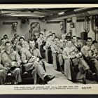 John Derek, Kevin McCarthy, Pat Conway, L.Q. Jones, Don Kennedy, Alvy Moore, Robert Paget, and John Kirby in An Annapolis Story (1955)