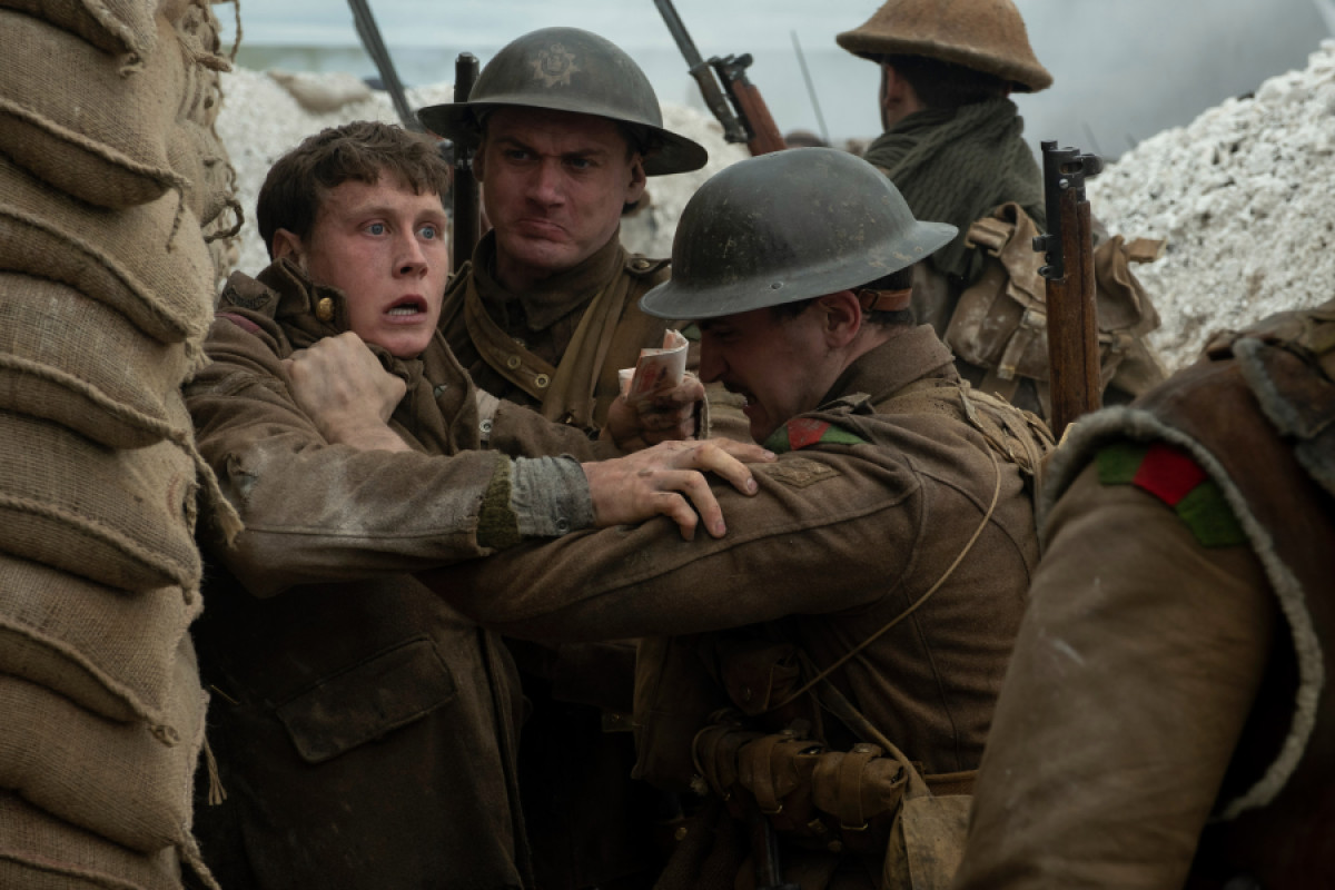 George MacKay, Jonny Lavelle, and Samson Cox-Vinell in 1917 (2019)