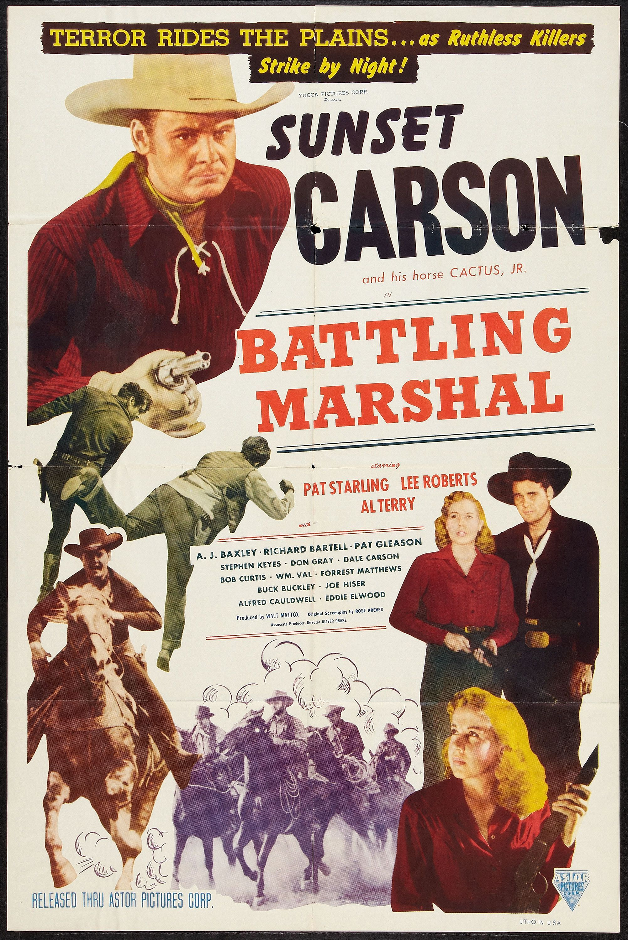 Sunset Carson, Pat Starling, and Cactus Jr. in Battling Marshal (1950)