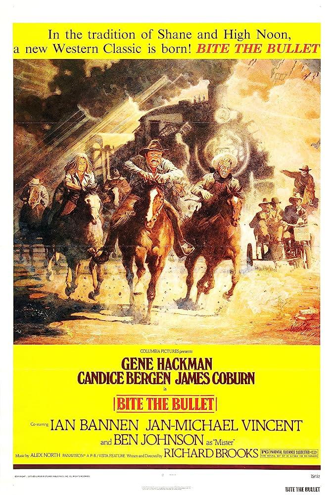 Candice Bergen, James Coburn, and Gene Hackman in Bite the Bullet (1975)