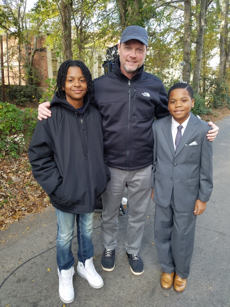 Jaylon on the set of The Banker with George Nolfi and Johnnie Gordon