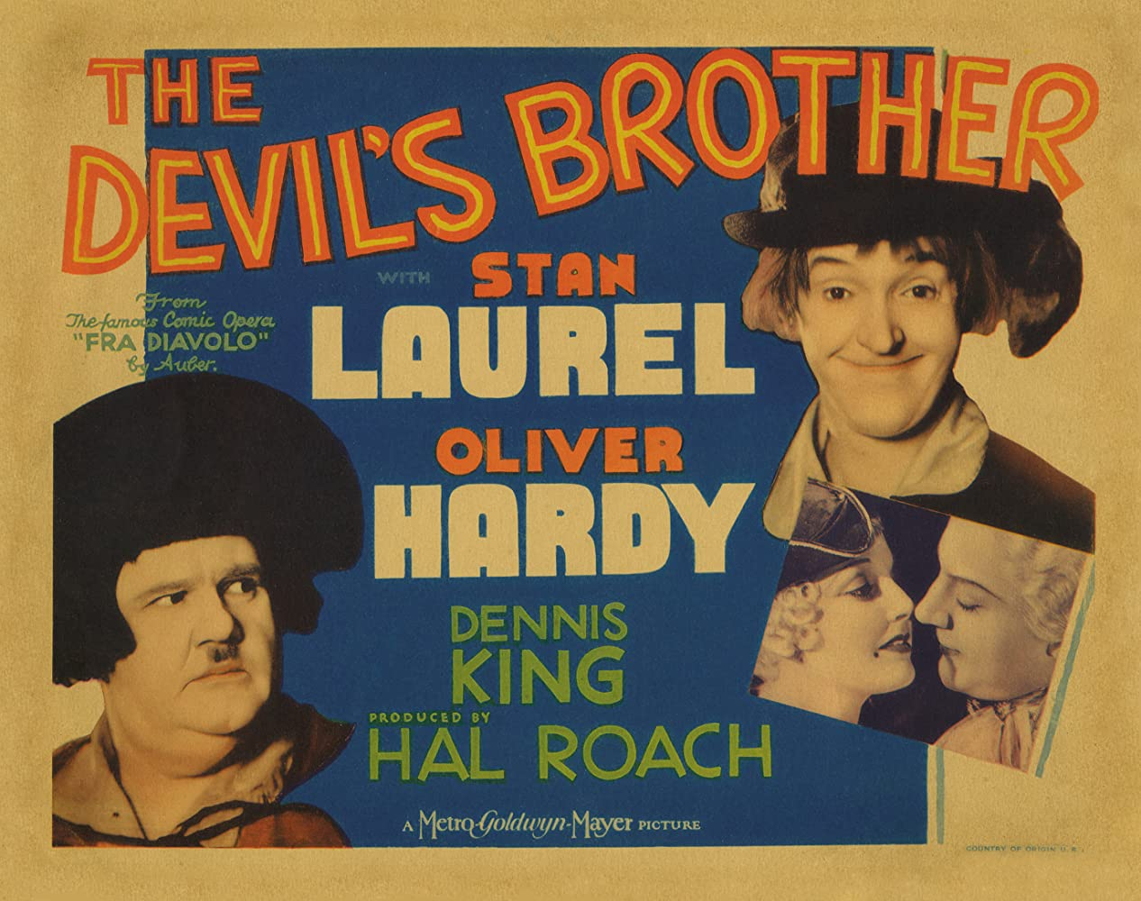 Oliver Hardy, Dennis King, Stan Laurel, and Thelma Todd in The Devil's Brother (1933)