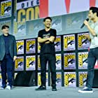 Kevin Feige, Destin Daniel Cretton, and Simu Liu at an event for Shang-Chi and the Legend of the Ten Rings (2021)