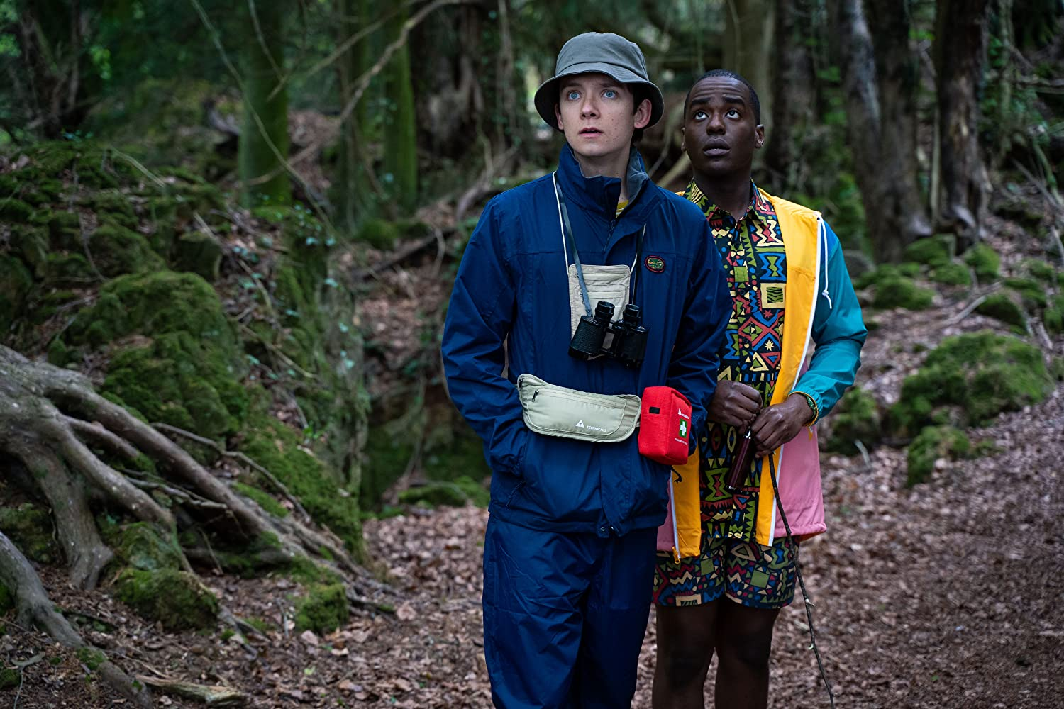 Asa Butterfield and Ncuti Gatwa in Sex Education (2019)