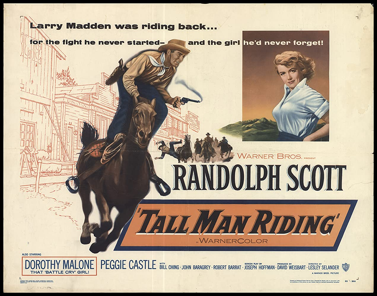 Randolph Scott and Dorothy Malone in Tall Man Riding (1955)