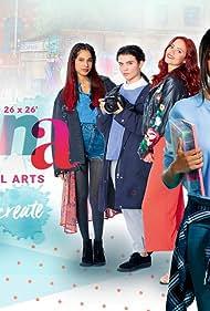 Dounia Hendrin, Alice Hewkin, Tafline Steen, Oliver Dench, Eve Austin, Ella Balinska, and Sophie Robertson in The Athena (2018)
