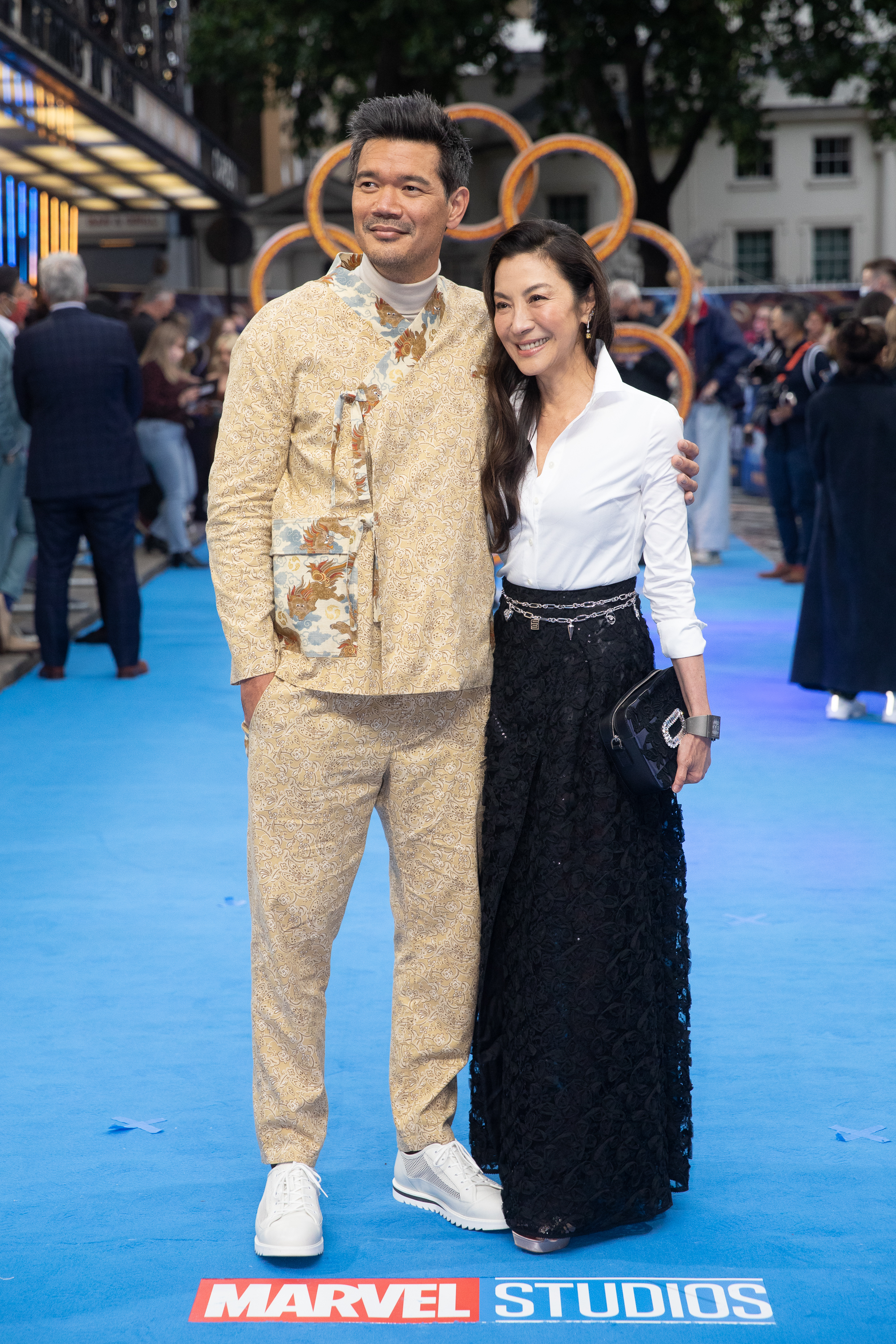 Michelle Yeoh and Destin Daniel Cretton at an event for Shang-Chi and the Legend of the Ten Rings (2021)