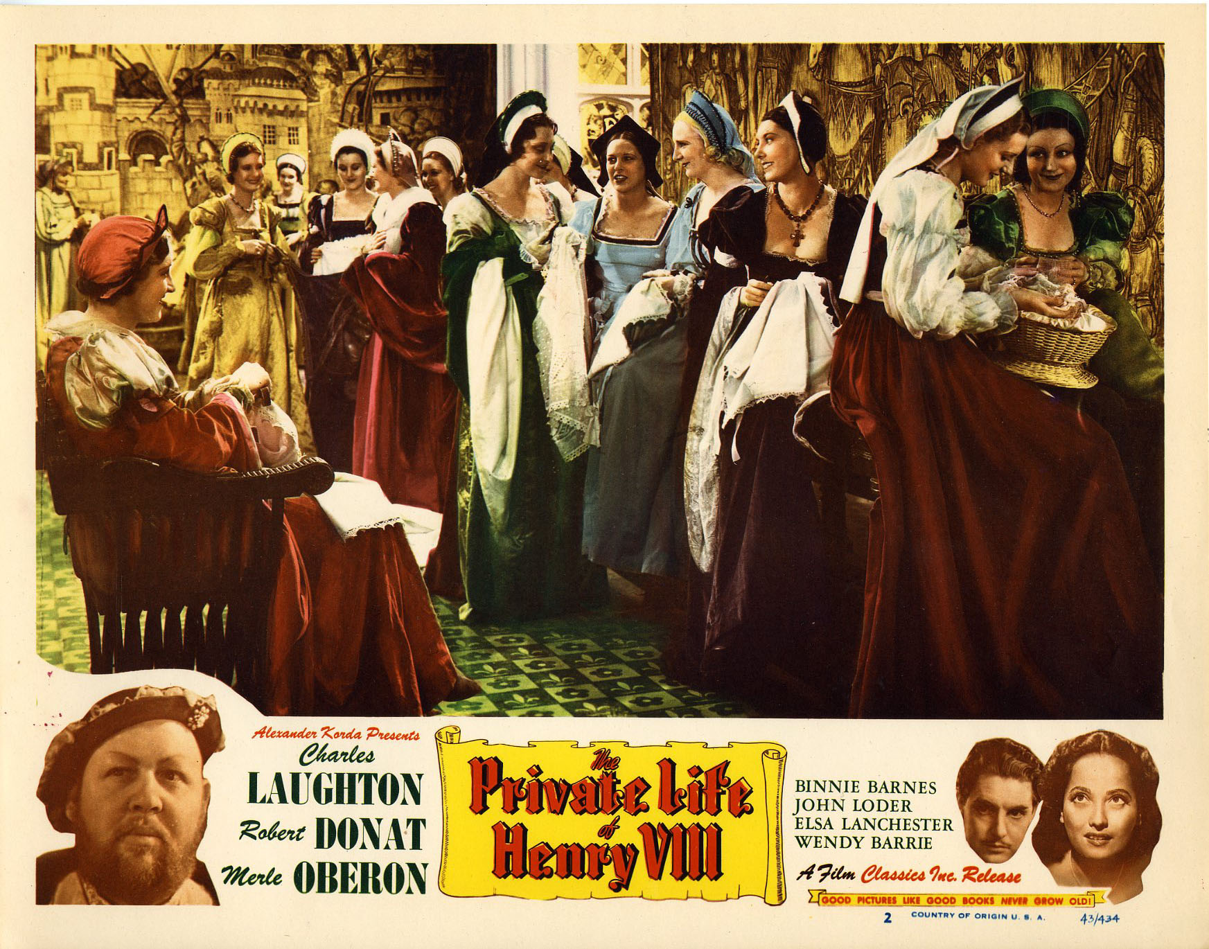 Charles Laughton, Robert Donat, Annie Esmond, Judy Kelly, Merle Oberon, and Lady Tree in The Private Life of Henry VIII (1933)