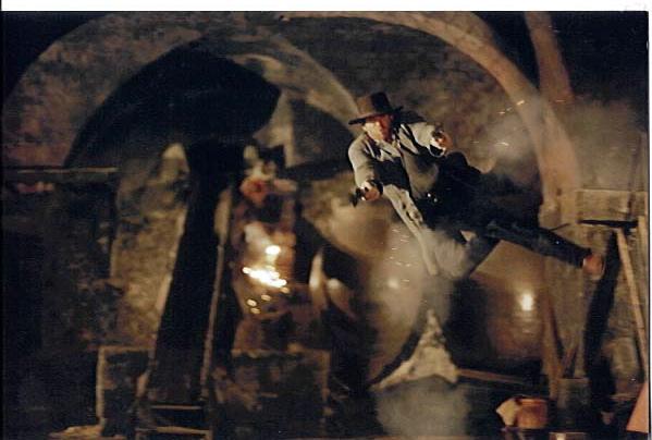 Marc Cass performing an air-ram stunt doubling Emilio Estevez