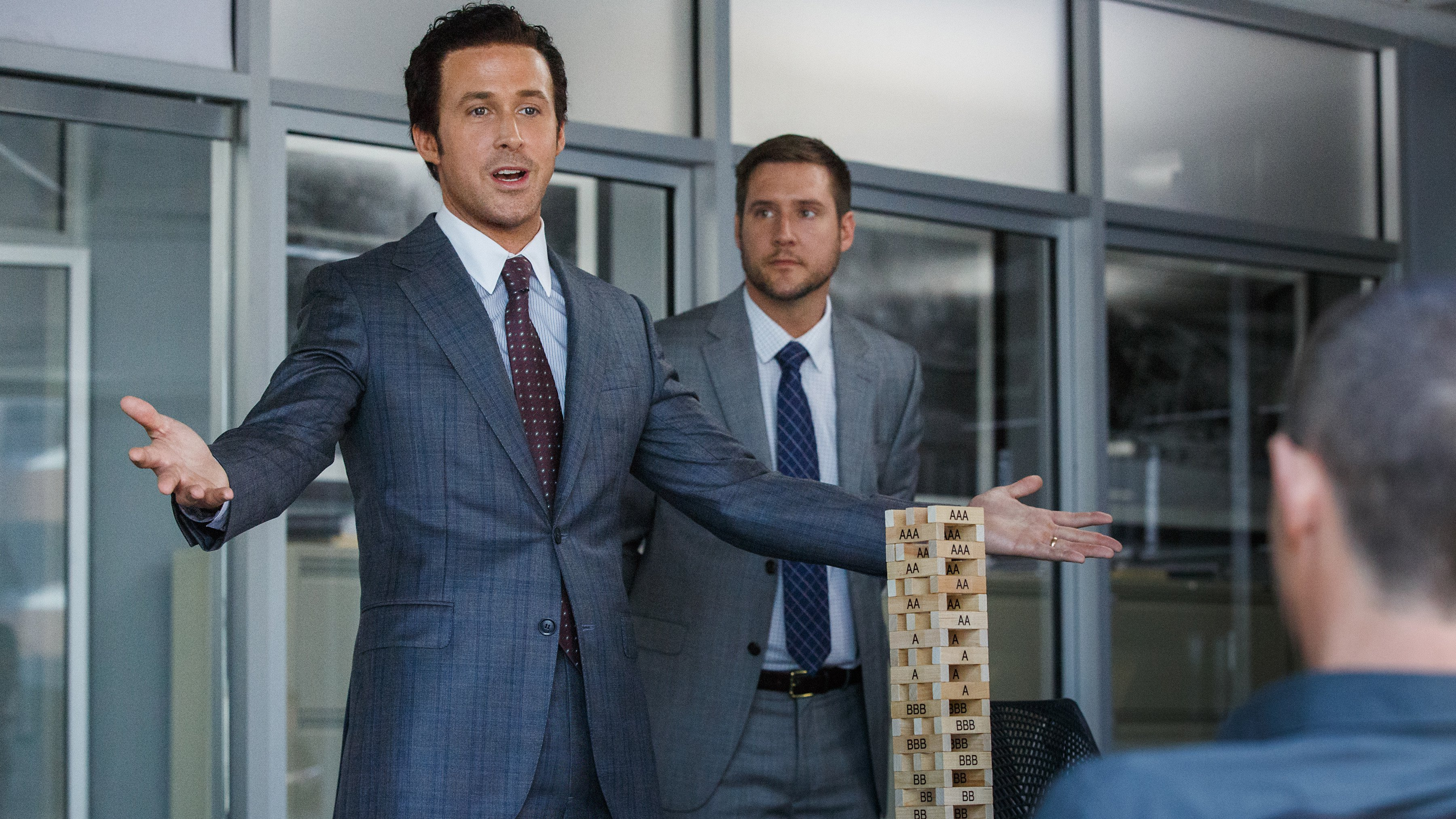 Ryan Gosling and Jeffry Griffin in The Big Short (2015)