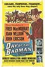 John Ericson, Fred MacMurray, Joan Weldon, and Marie Windsor in Day of the Badman (1958)