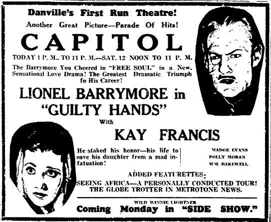 Lionel Barrymore and Kay Francis in Guilty Hands (1931)