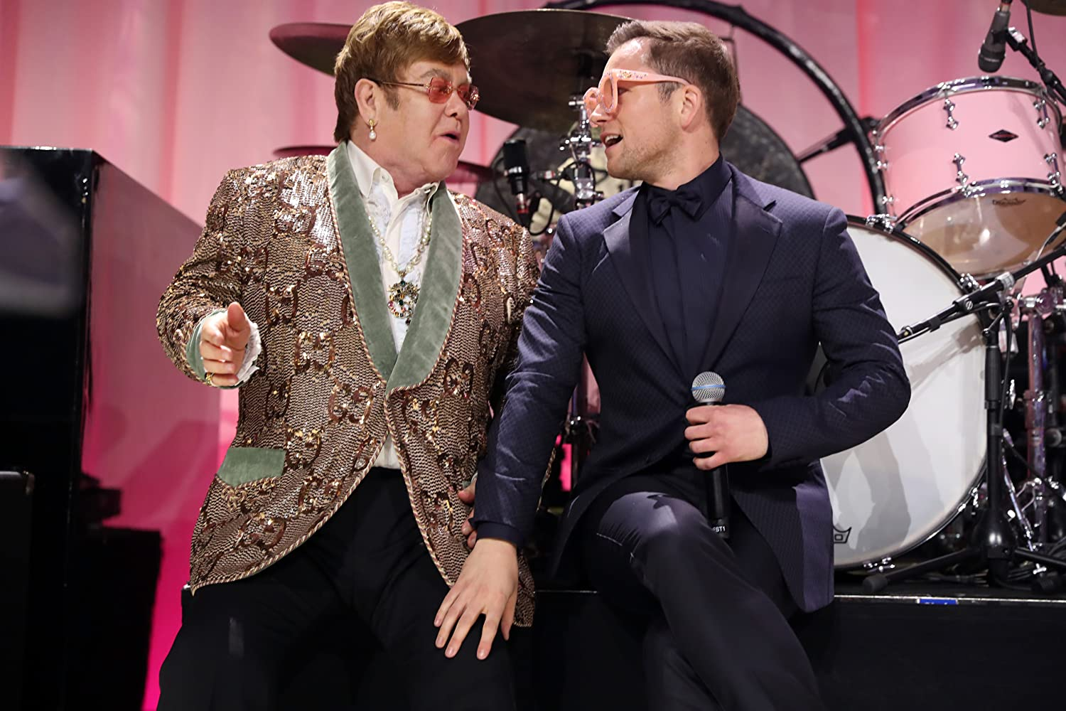 Elton John and Taron Egerton at an event for Rocketman (2019)
