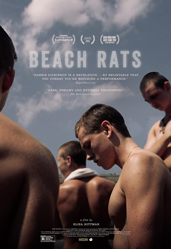 Harris Dickinson, Anton Selyaninov, Frank Hakaj, and David Ivanov in Beach Rats (2017)