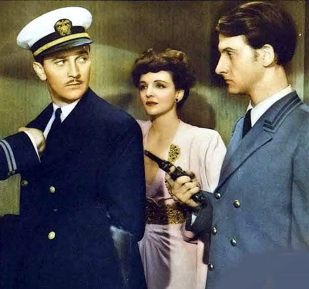 Lee Bowman, Hans Conried, and Mona Maris in Pacific Rendezvous (1942)