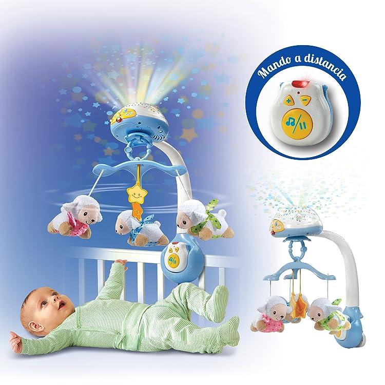 Proyectores móviles de VTech, proyectan suaves luces, música, dulces nanas y sonidos de la naturaleza que relajan al bebé. Además detectan cuando llora.
