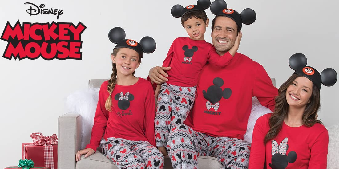 ad0ccd2449 PajamaGram Matching Pajamas for Family - Mickey Mouse and Minnie Mouse  Pajamas Red