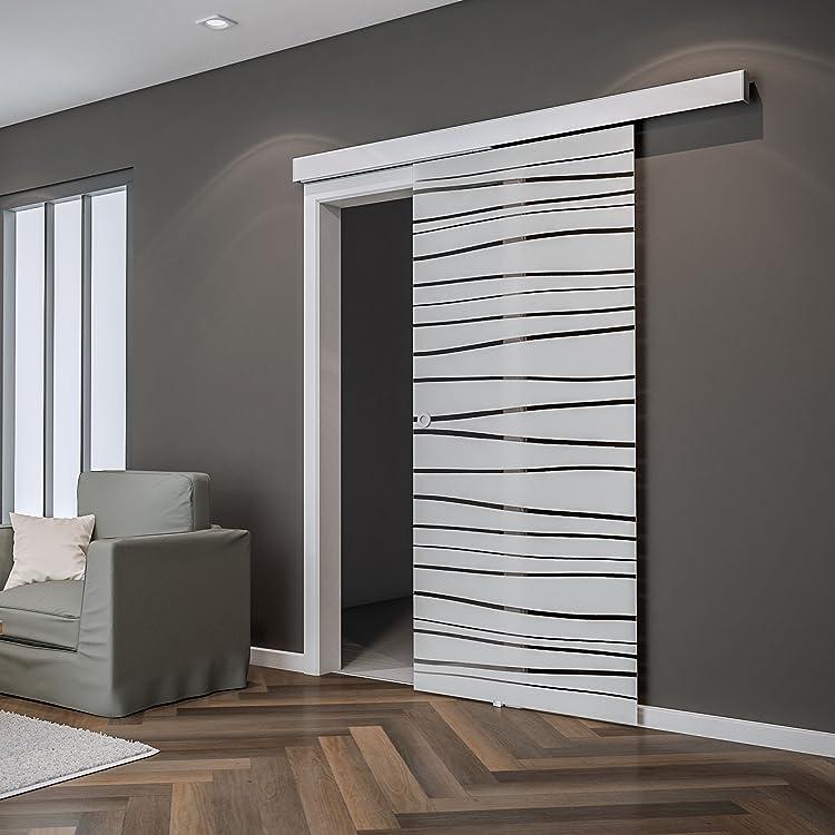 INOVA Porte coulissante en Verre Opaque 88 x 203 cm S/éparateur de Pi/èce Poign/ée Carr/ée 1 Vantail