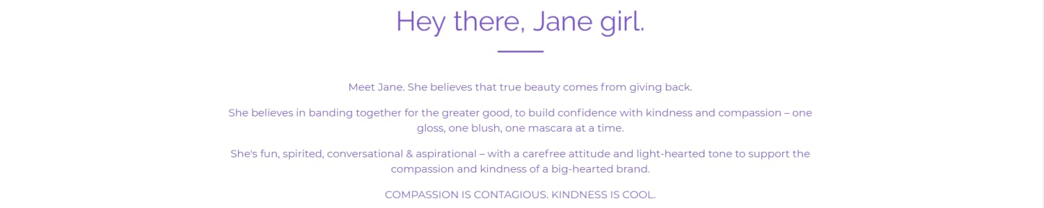 Jane Cosmetics header