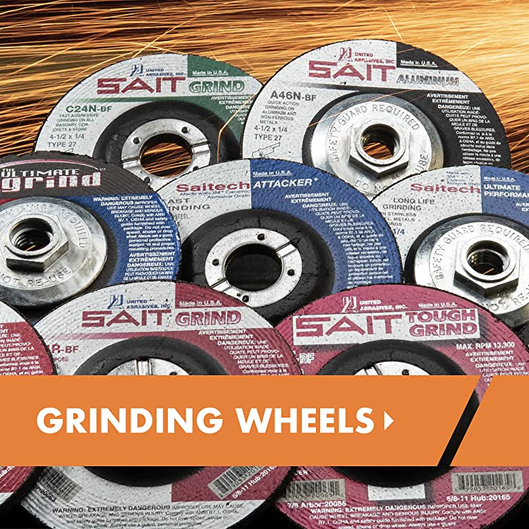 10-Pack United Abrasives-SAIT 20173 Type 27 5-Inch x 1//4-Inch x 5//8-11 Grade A24R Long Life Depressed Center Grinding Wheels