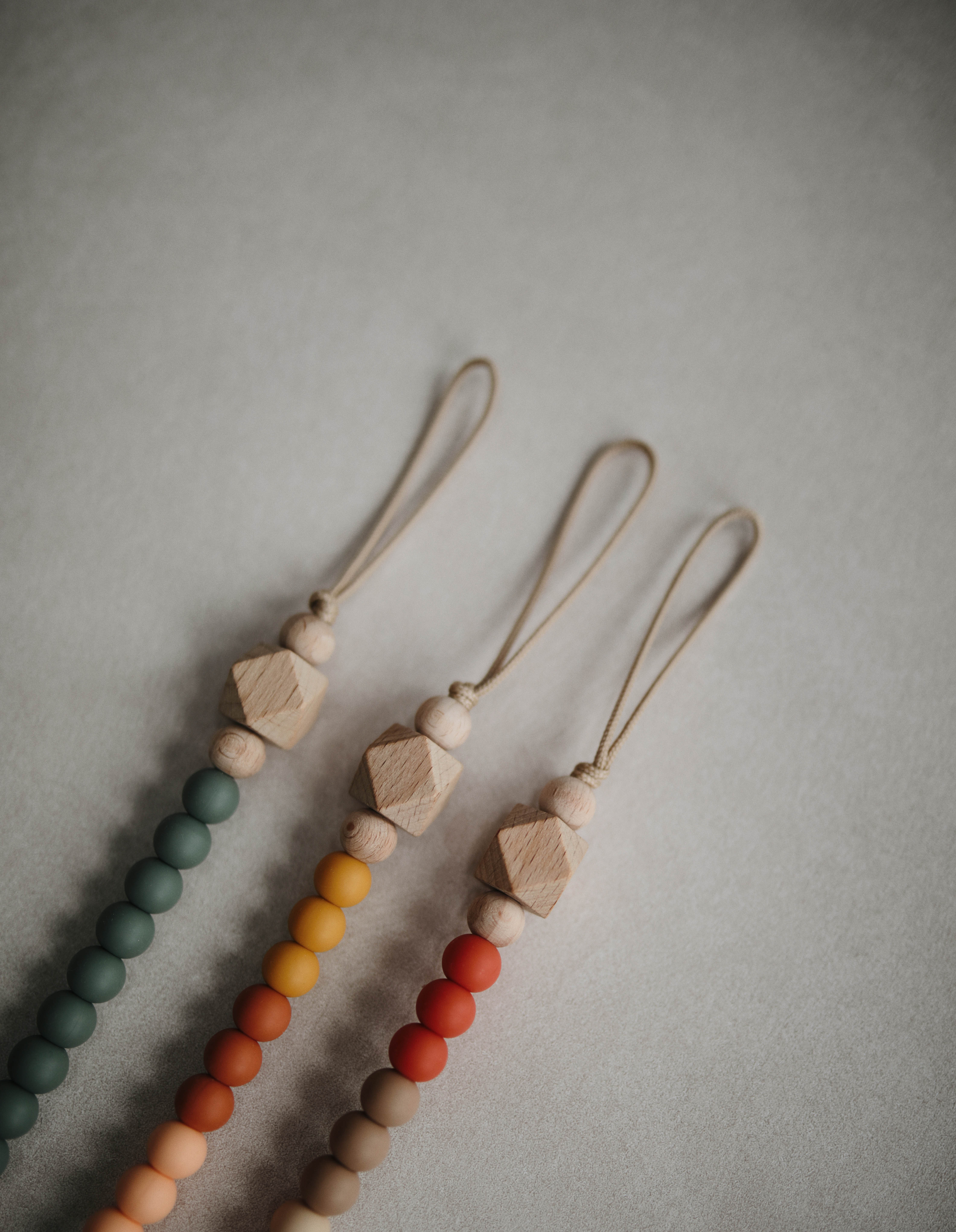 Eros Handmade in The USA Raw Sienna//Lentil Wood Mushie x The Dearest Grey Baby Pacifier Clip Holder