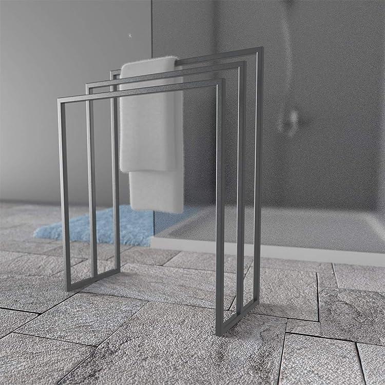 HLMH-01-82-40-9005 HOLZBRINK Metall Handtuchhalter f/ür Badezimmer Kleiderst/änder Freistehender Handtuchst/änder mit 2 Stangen Tiefschwarz HxBxT 82x40x20 cm