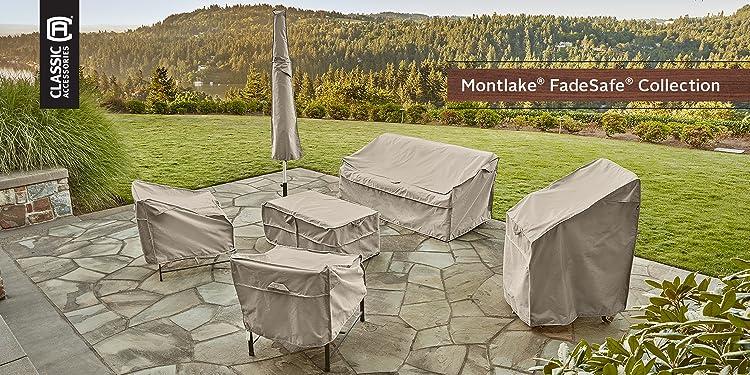 Medium Classic Accessories 55-264-011001-00 Belltown Outdoor Patio Sofa//Loveseat Cover Grey