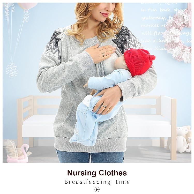 YIWOZA Women/'s Maternity top Black Loose 3//4 Raglan Sleeve Pregnant Clothes