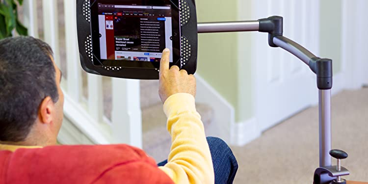 LEVO G2 TABLE CLAMP TABLET STAND - A specialized clamp easily attaches to tables, kitchen counters, and other solid surfaces with overhangs as small as 1/4