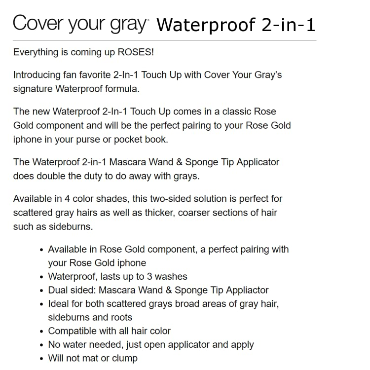 f0830ca8aa3 Amazon.com: Cover Your Gray: Waterproof 2-in-1 Touch-Up