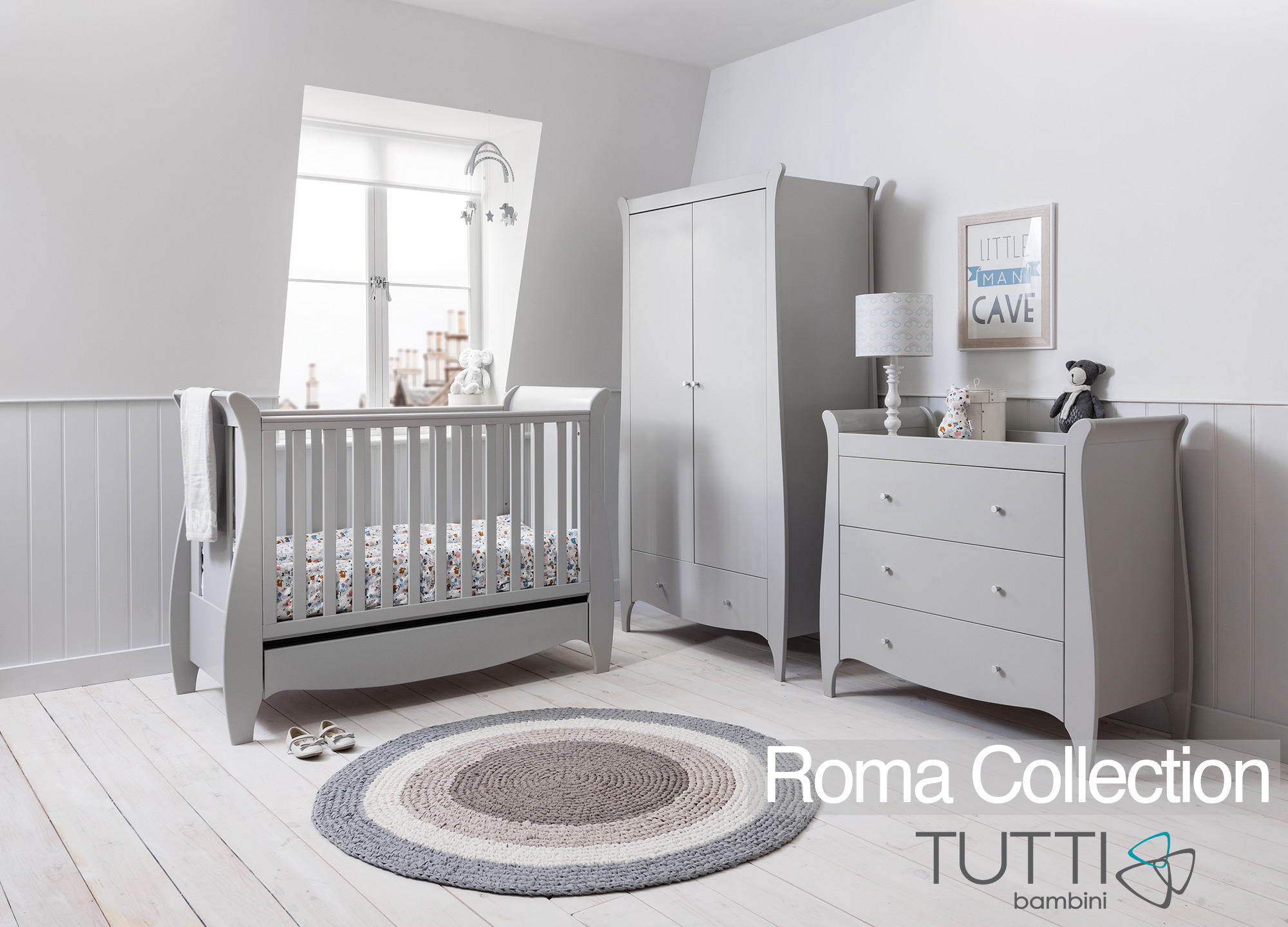 Truffle Grey Baby Cot Bed and Sleigh Design Chest of Drawers Two Piece Solid Wood Furniture Tutti Bambini Roma Nursery Furniture Set