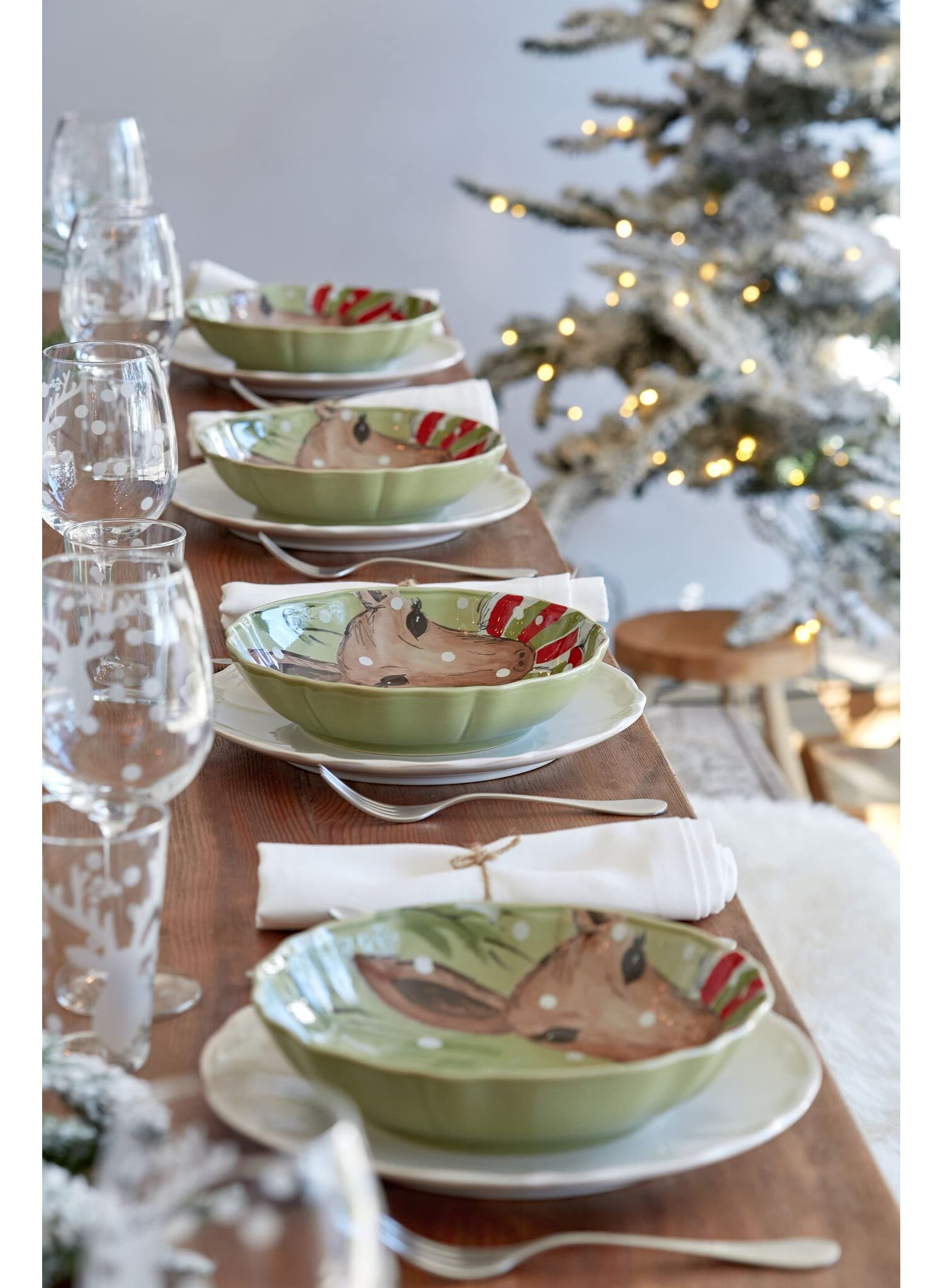 Salad Plates set of 4 green dessert Casafina Deer Friends