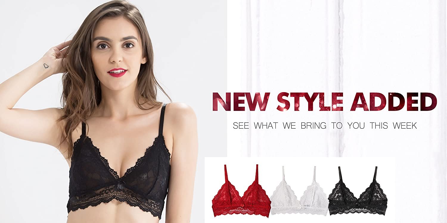cb1368e2c0c Wink Gal Women s Stretch Wireless Padded Removable Cups Cotton Bralette