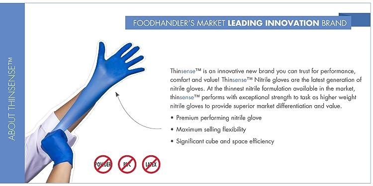 Pack of 1000 FoodHandler 103-TS16-BLK FoodHandler thinsense Nitrile LG Black