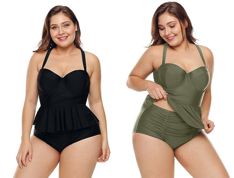 0f84413bed Two Piece Peplum Tankini Set M-3X. Strappy High Waist Bikini M-XXXL. Plus  Size ...