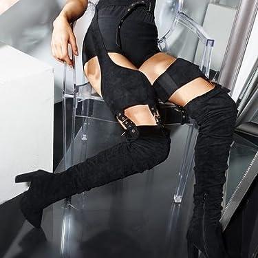 922f74c06d45 AZALEA WANG Faux Suede Chunky Heel Rihanna Adjustable Belted Garter Chaps  Suspender Boots